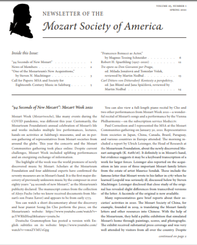 Cover of the Spring 2021 MSA Newsletter